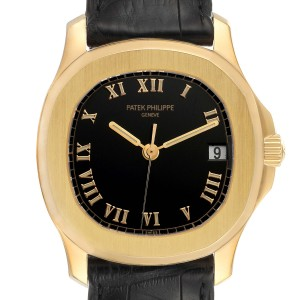 Patek Philippe Aquanaut 18k Yellow Gold Black Dial Mens Watch 5060J