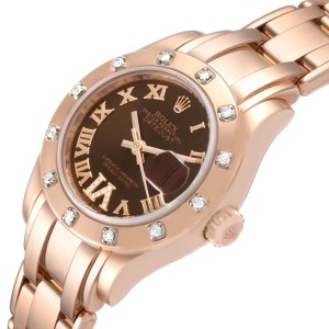 Rolex Pearlmaster Rose Gold Diamond Ladies Watch 80315