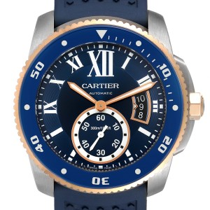 Cartier Calibre Diver Steel Rose Gold Blue Dial Watch W2CA0009 Box Papers