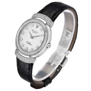Rolex Cellini Cellissima 33mm White Gold Diamond Ladies Watch 6683