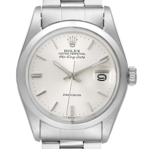 Rolex Air King Date Vintage Stainless Steel Silver Dial Mens Watch 5700