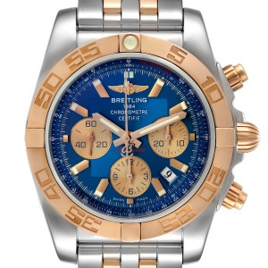 Breitling Chronomat Evolution Steel Rose Gold Mens Watch CB0110 Box Papers