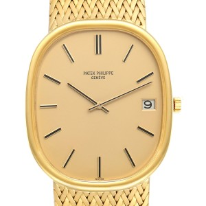 Patek Philippe Golden Ellipse Jumbo 18k Yellow Gold Mens Watch 3605