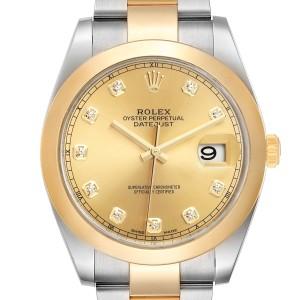Rolex Datejust 41 Steel Yellow Gold Diamond Mens Watch 126303