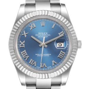 Rolex Datejust 41 Steel White Gold Blue Dial Mens Watch 116334 Box Card