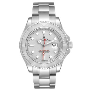 Rolex Yachtmaster 40 Steel Platinum Dial Bezel Mens Watch 16622