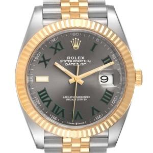 Rolex Datejust 41 Steel Yellow Gold Wimbledon Mens Watch 126333