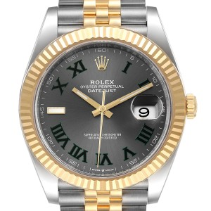 Rolex Datejust 41 Steel Yellow Gold Wimbledon Mens Watch 126333