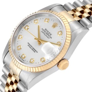 Rolex Datejust Steel Yellow Gold Silver Diamond Dial Mens Watch 16233