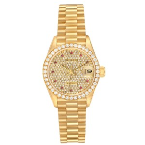 Rolex President Datejust Yellow Gold Diamond Rubies Ladies Watch 69138