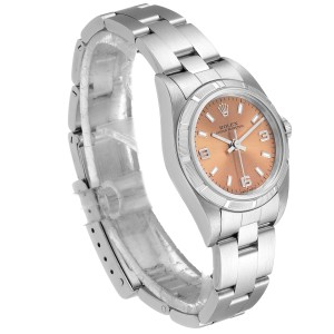 Rolex Oyster Perpetual Salmon Dial Steel Ladies Watch 76030
