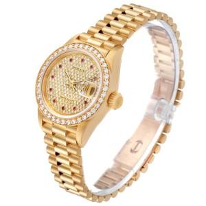 Rolex President Datejust Yellow Gold Diamond Rubies Ladies Watch 69138