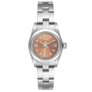 Rolex Oyster Perpetual Nondate Ladies Steel Salmon Dial Watch 67180