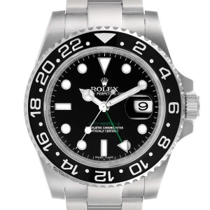 Rolex GMT Master II Black Dial Steel Mens Watch 116710 Box Papers