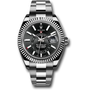 Rolex Sky-Dweller 326934BKSO 18K White Gold and Stainless Steel Black Dial 42mm Automatic Mens Watch