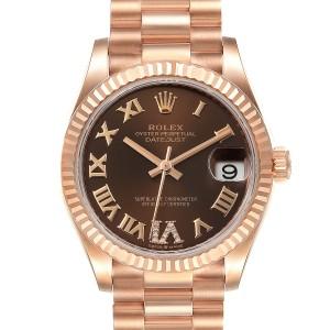 Rolex President Midsize Rose Gold Chocolate Diamond Watch 279165 Unworn