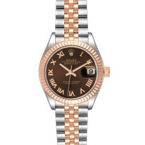 Rolex Datejust 28 Everose Rolesor Brown Dial Ladies Watch 279171 Box Card