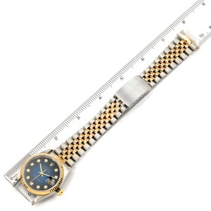 Rolex Datejust Steel Yellow Gold Vignette Diamond Dial Watch 16233 Papers