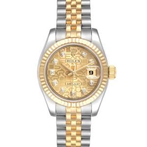 Rolex Datejust 26 Steel Yellow Gold Diamond Ladies Watch 179173 Box Papers
