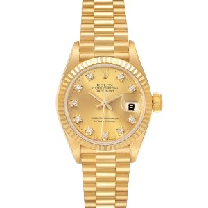 Rolex President Datejust 18K Yellow Gold Diamond Ladies Watch 69178