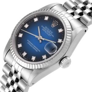 Rolex Datejust Midsize 31 Steel White Gold Vignette Diamond Watch 68274