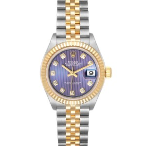 Rolex Datejust 28 Steel Yellow Gold Lilac Diamond Ladies Watch 279173
