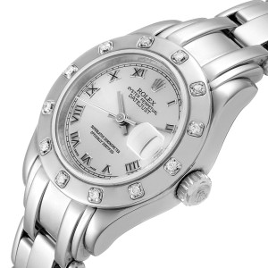 Rolex Pearlmaster White Gold Silver Dial Diamond Ladies Watch 69319