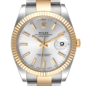 Rolex Datejust II Steel Yellow Gold Silver Dial Watch 116333