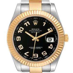 Rolex Datejust II Steel Yellow Gold Black Dial Mens Watch 116333