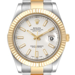 Rolex Datejust II Steel Yellow Gold Silver Dial Mens Watch 116333