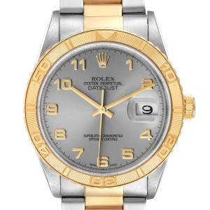 Rolex Datejust Turnograph Steel Yellow Gold Grey Dial Mens Watch 16263