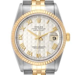 Rolex Datejust Steel Yellow Gold Pyramid Roman Dial Mens Watch 16233