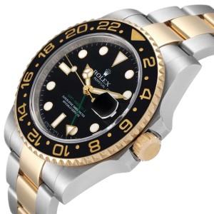 Rolex GMT Master II Yellow Gold Steel Mens Watch 116713