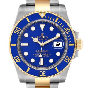 Rolex Submariner Steel 18K Yellow Gold Blue Dial Mens Watch 116613