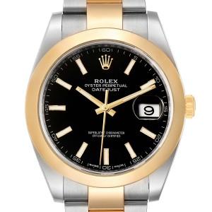 Rolex Datejust 41 Steel Yellow Gold Black Dial Mens Watch 126303 Box Card
