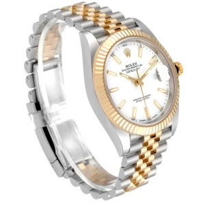 Rolex Datejust 41 Steel Yellow Gold White Dial Mens Watch 126333 Box Papers