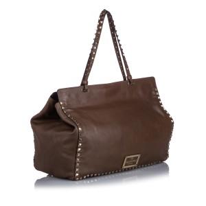 Rockstud Leather Tote Bag
