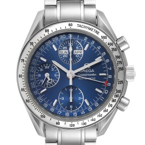 Omega Speedmaster Day-Date Blue Dial Steel Mens Watch 3523.80.00