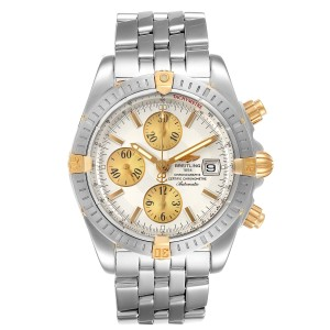 Breitling Chronomat Steel 18K Yellow Gold Mens Watch B13356 Box Papers