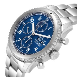 Breitling Navitimer Blue Dial Chronograph Steel Mens Watch A13314 Box Papers