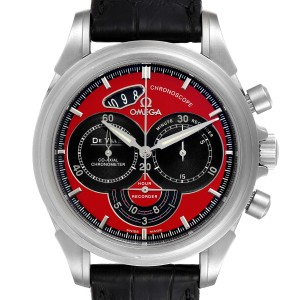 Omega DeVille Chronoscope Co-Axial Red Dial Mens Watch 4851.61.31 Box Card