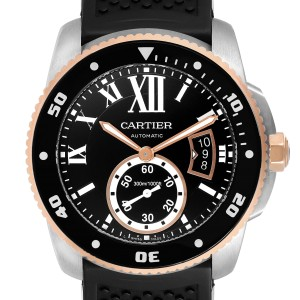 Cartier Calibre Diver Steel Rose Gold Mens Watch W7100055 Box Papers