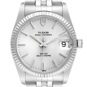 Tudor Prince Date Silver Dial Steel Vintage Mens Watch 74034 Box Tag