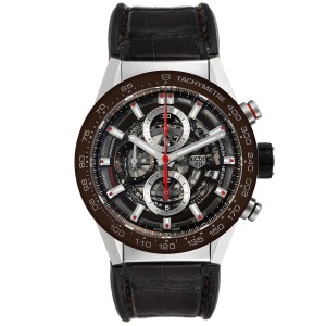 Tag Heuer Carrera Brown Skeleton Dial Chronograph Watch