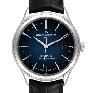 Baume Mercier Clifton Baumatic Automatic Steel Mens Watch 10467 Box Card