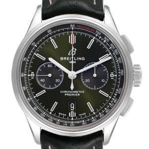 Breitling Premier B01 Chronograph 42 Green Dial Steel Mens Watch AB0118
