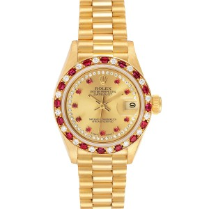 Rolex President 18k Yellow Gold Diamond Ruby Ladies Watch 69188 Box Papers
