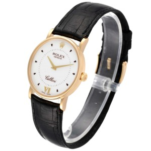 Rolex Cellini Classic Yellow Gold Silver Dial Black Strap Mens Watch 5115