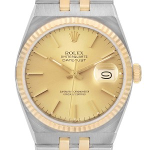 Rolex Oysterquartz Datejust 36mm Steel Yellow Gold Mens Watch 17013