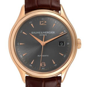 Baume Mercier Clifton 18k Rose Gold Grey Dial Mens Watch 10059 Box Papers